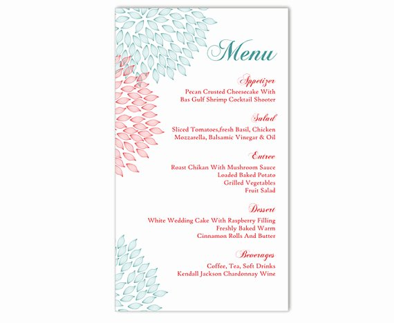 Menu Template Free Word Beautiful Wedding Menu Template Diy Menu Card Template Editable Text