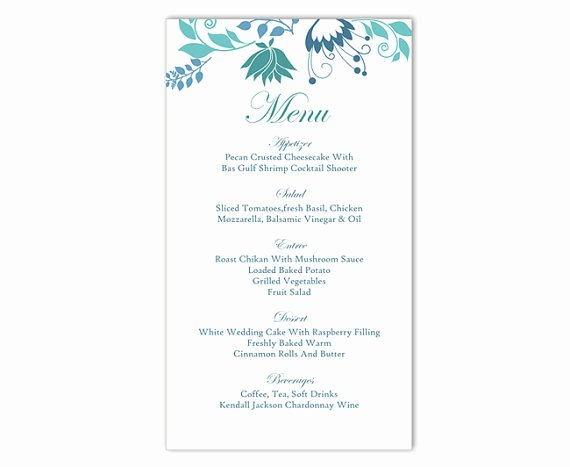Menu Template Free Word Fresh Wedding Menu Template Diy Menu Card Template Editable Text