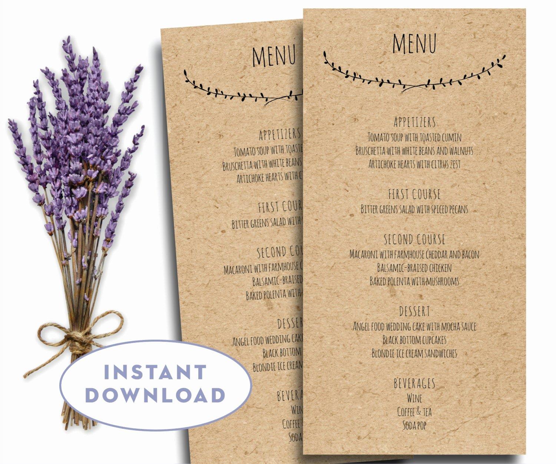 Menu Template Free Word Inspirational Printable Wedding Menu Template Kraft Menu Template 4 X 8