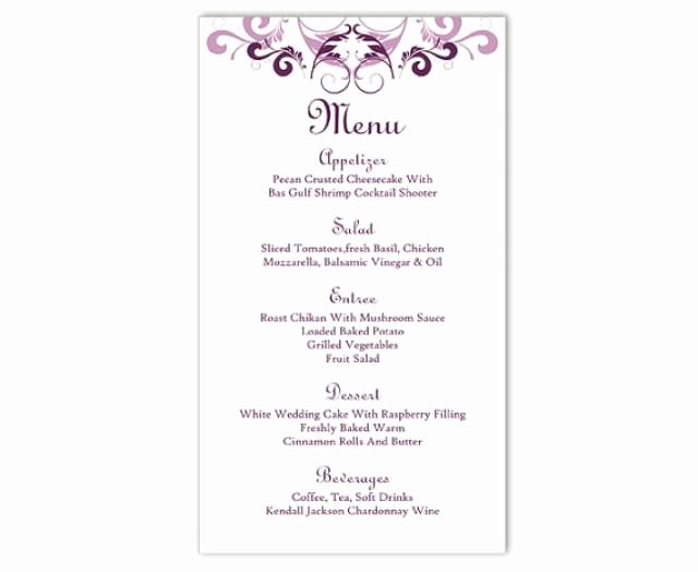 Menu Template Free Word Inspirational Wedding Menu Template Diy Menu Card Template Editable Text