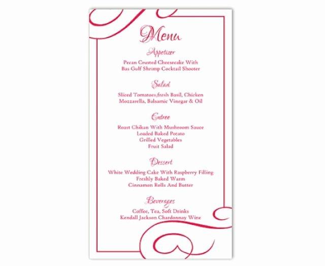 Menu Template Free Word Lovely Wedding Menu Template Diy Menu Card Template Editable Text