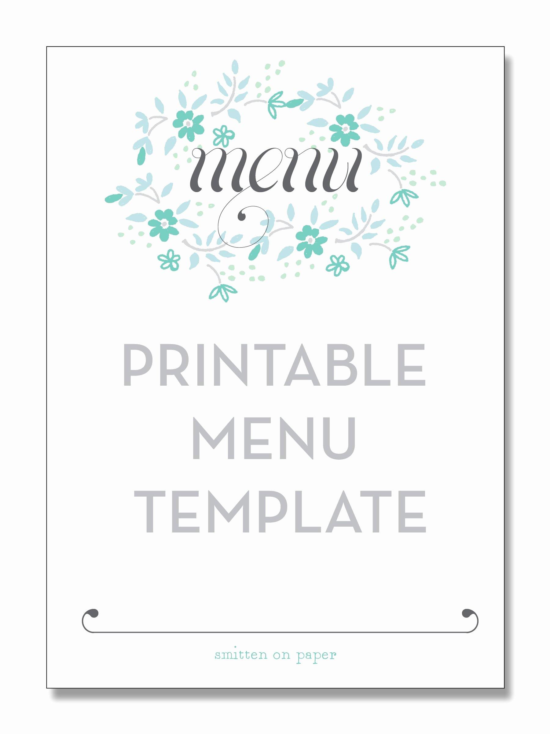 Menu Template Free Word Luxury Freebie Friday Printable Menu Party Time