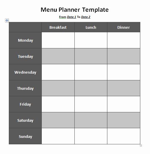 Menu Template Free Word Luxury Menu Planner Template 8 Free Printable Templates Word