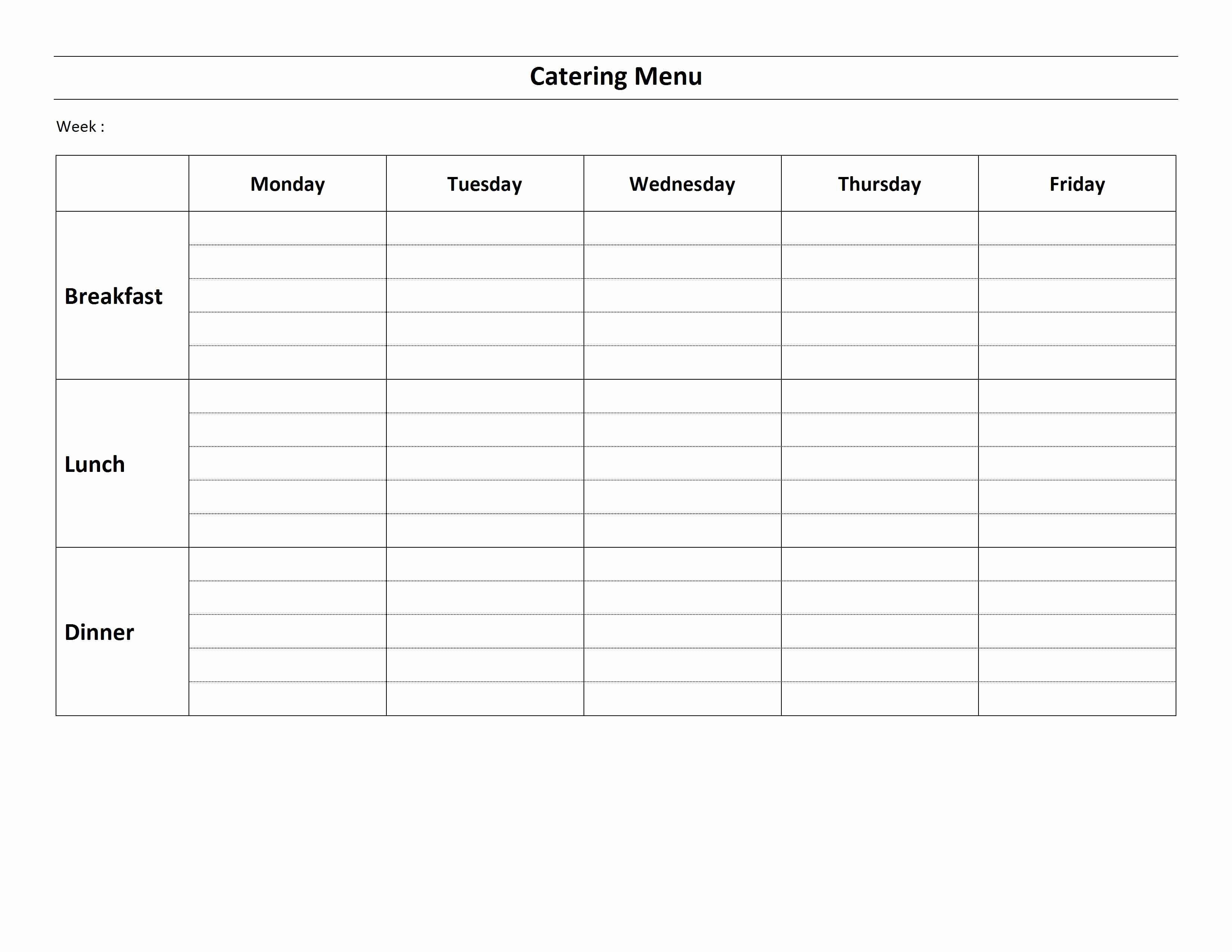 Menu Template Free Word New Weekly Catering Menu