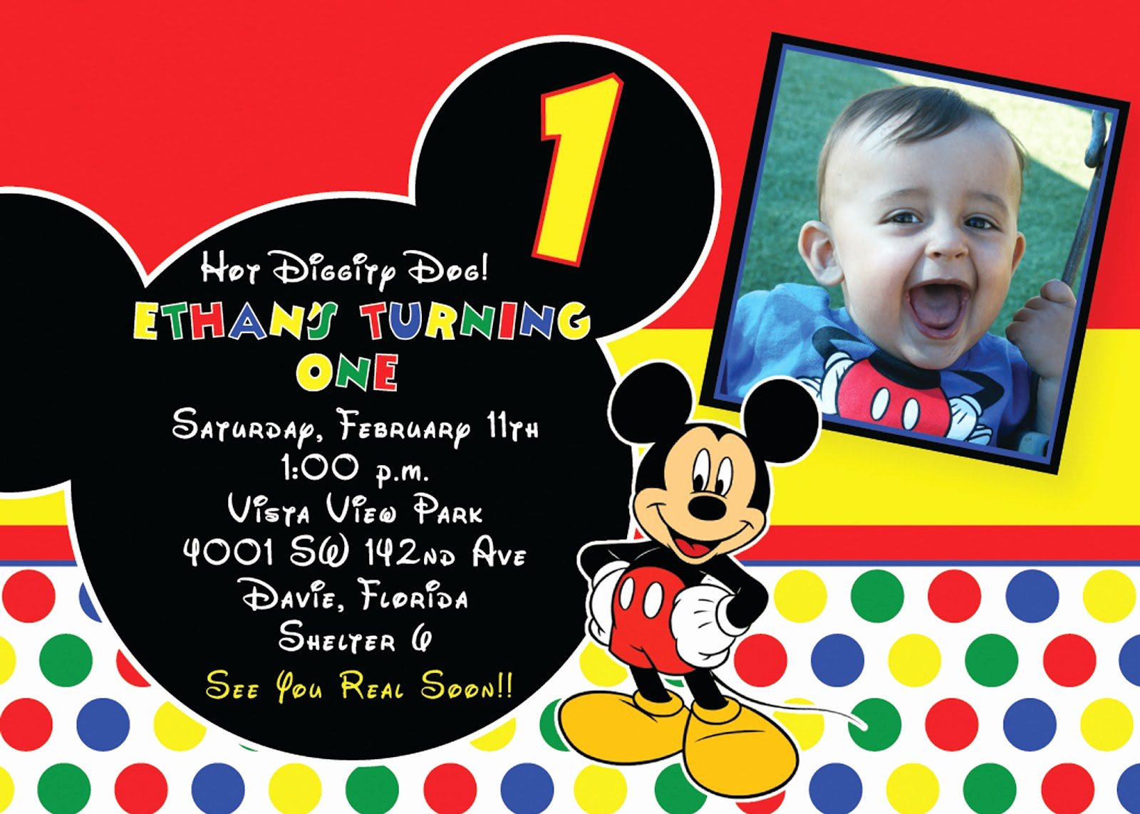 Mickey Mouse Birthday Invitation Template Awesome Free Printable 1st Mickey Mouse Birthday Invitations