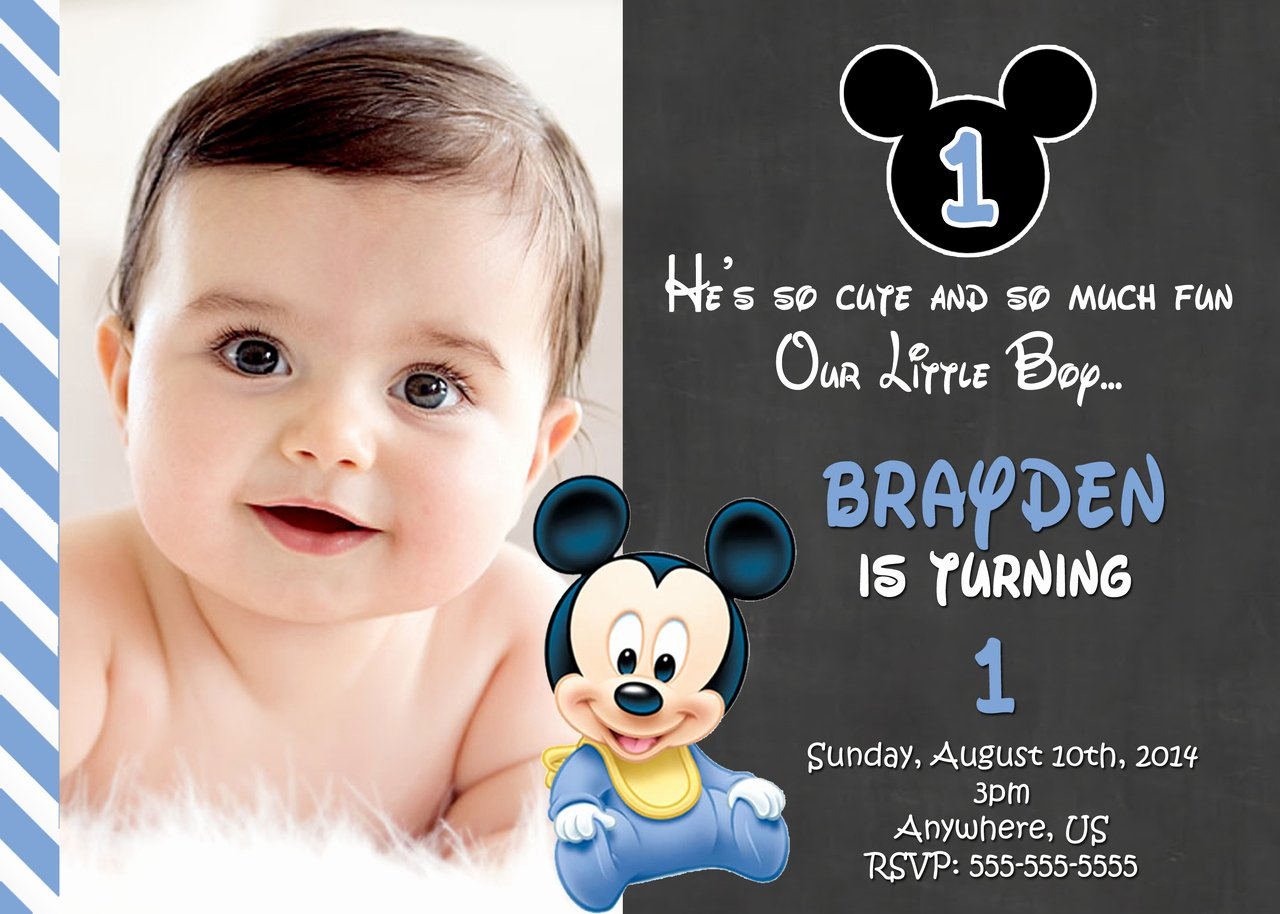 Mickey Mouse Birthday Invitation Template Beautiful Mickey Mouse 1st Birthday Invitations Free Invitation