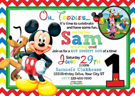 Mickey Mouse Birthday Invitation Template Best Of Mickey Mouse 1st Birthday Invitations Free Invitation