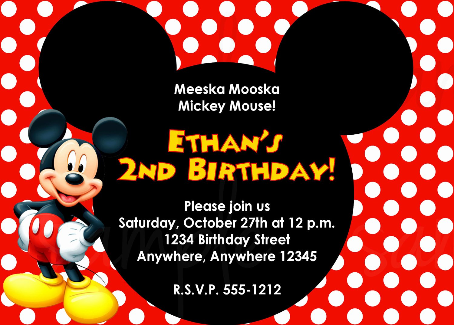 Mickey Mouse Birthday Invitation Template Best Of Mickey Mouse Birthday Invitation