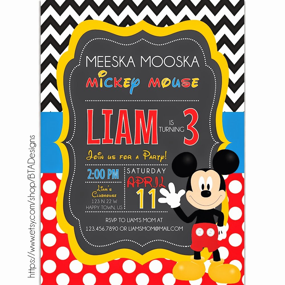 Mickey Mouse Birthday Invitation Template Best Of Mickey Mouse Printable Birthday Invitations
