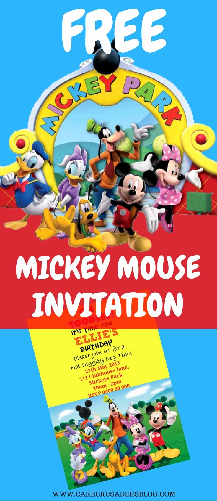 Mickey Mouse Birthday Invitation Template Elegant Best 20 Mickey Mouse Invitation Ideas On Pinterest