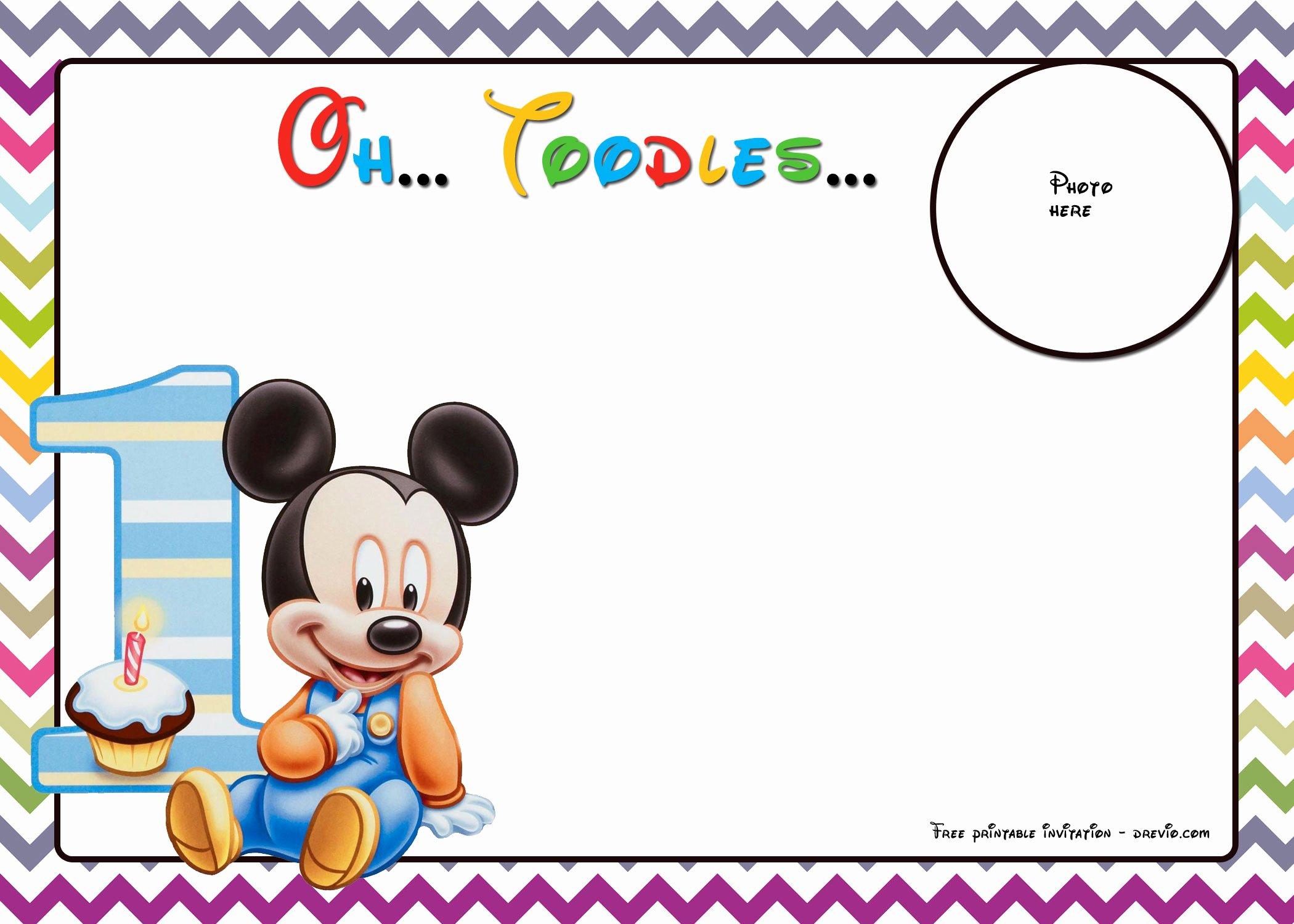 Mickey Mouse Birthday Invitation Template Elegant Free Mickey Mouse Birthday Invitations Template – Chevron