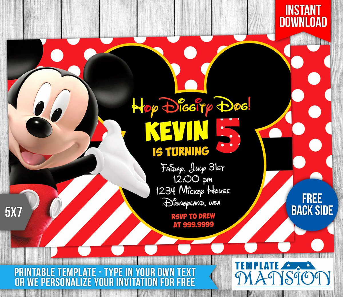 Mickey Mouse Birthday Invitation Template Elegant Mickey Mouse Clubhouse Birthday Invitation by
