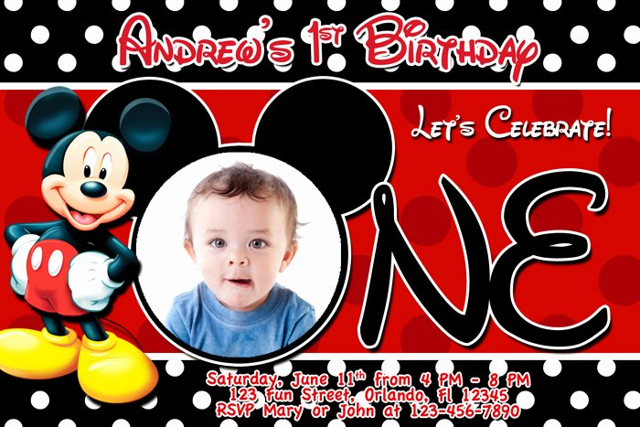 Mickey Mouse Birthday Invitation Template Inspirational Mickey Mouse 1st Birthday Invitations
