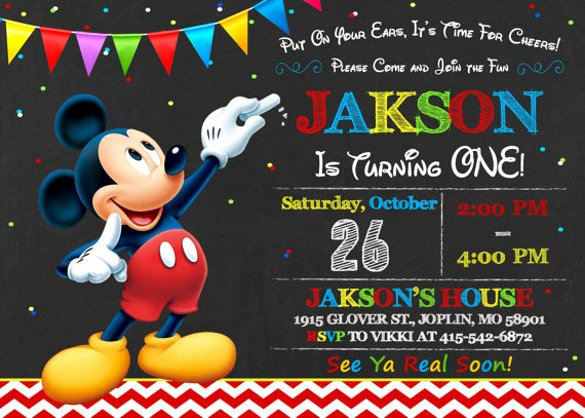 Mickey Mouse Birthday Invitation Template Lovely 30 Mickey Mouse Invitation Template
