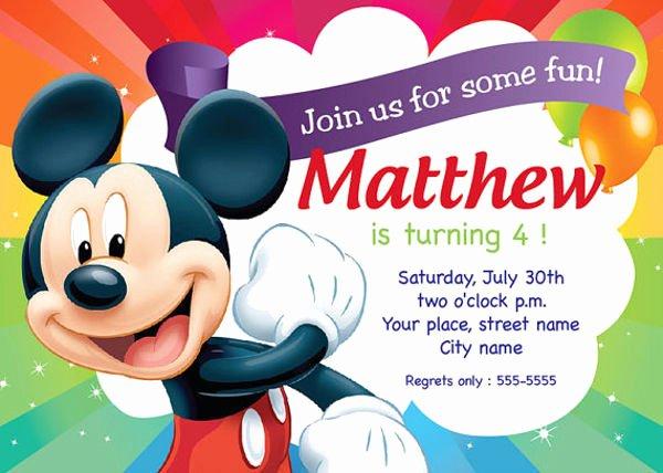 Mickey Mouse Birthday Invitation Template Lovely 83 Birthday Invitations Word Psd Ai Eps