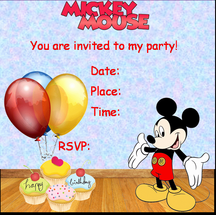 Mickey Mouse Birthday Invitation Template Luxury Mickey Mouse Party Invitation