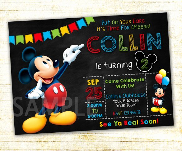 Mickey Mouse Birthday Invitation Template Unique 15 Mickey Mouse Birthday Invitation Templates – Psd