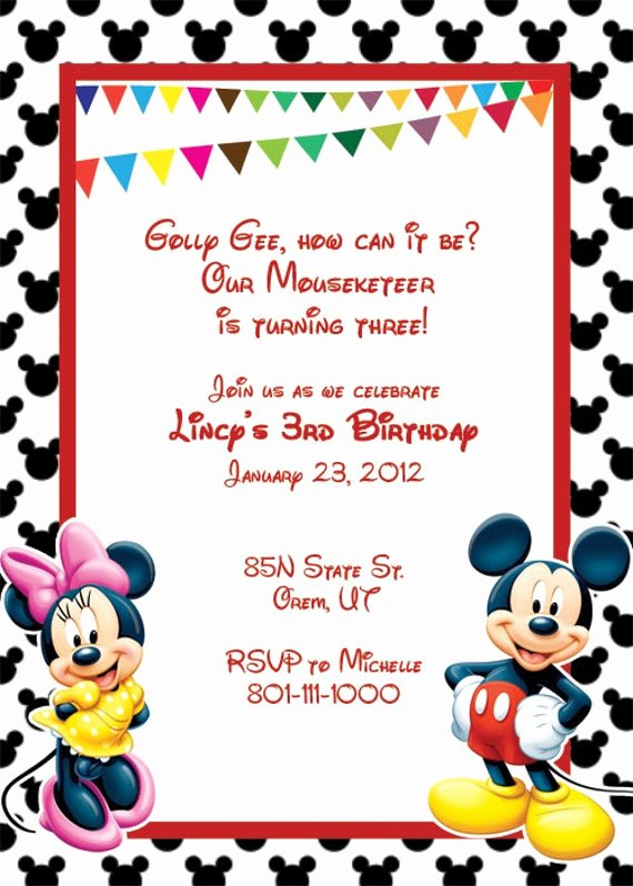 Mickey Mouse Invitations Templates Best Of Items Similar to Mickey Mouse Printable Birthday Party