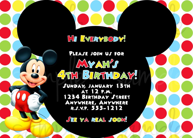 Mickey Mouse Invitations Templates Elegant Birthday Invitation Mickey Mouse