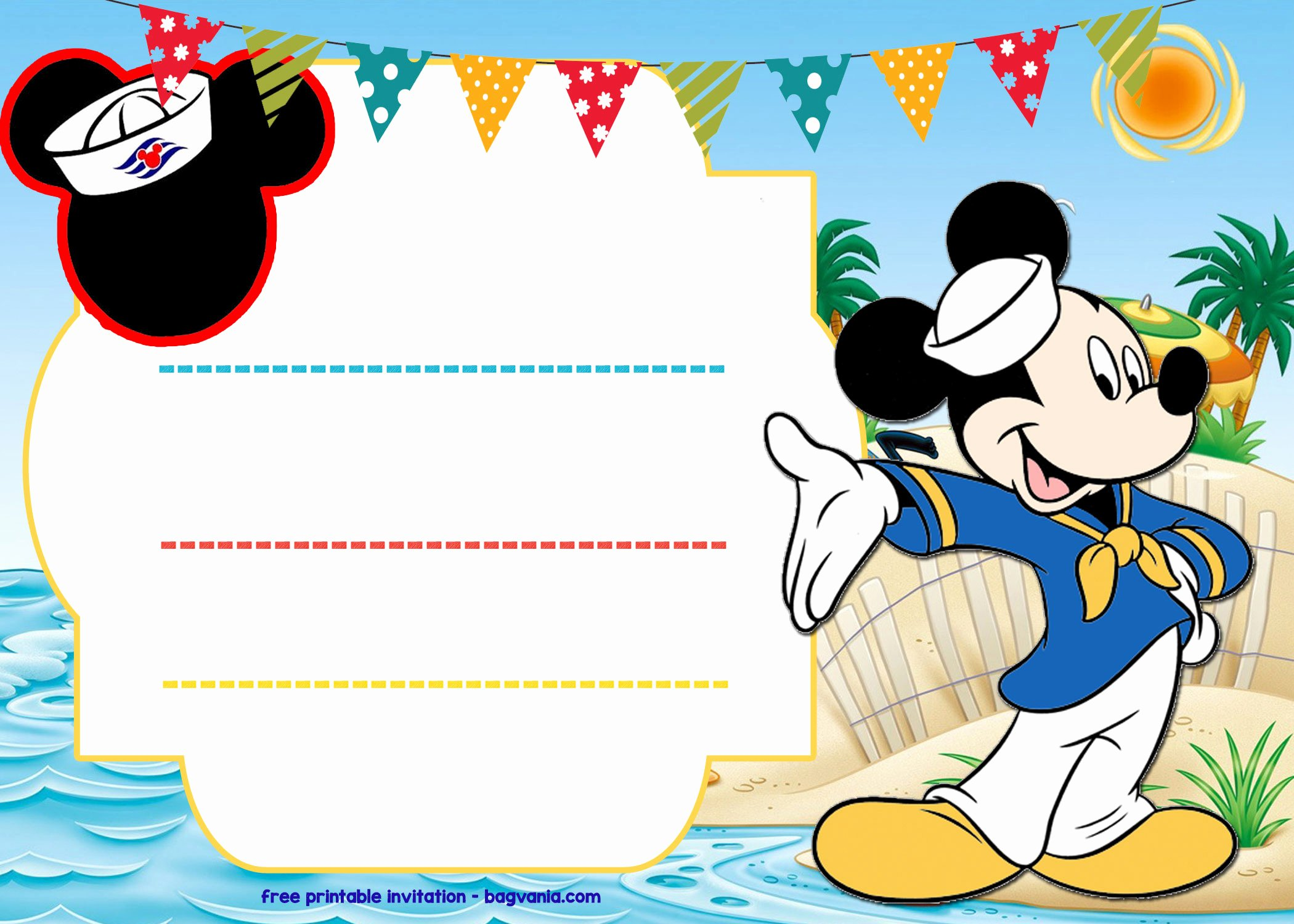 Mickey Mouse Invitations Templates Elegant Free Mickey Mouse Sailor Invitation Template – Free