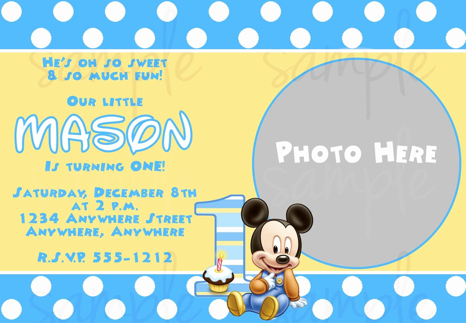 Mickey Mouse Invitations Templates Elegant Free Printable Baby Mickey Mouse 1st Birthday Invitations