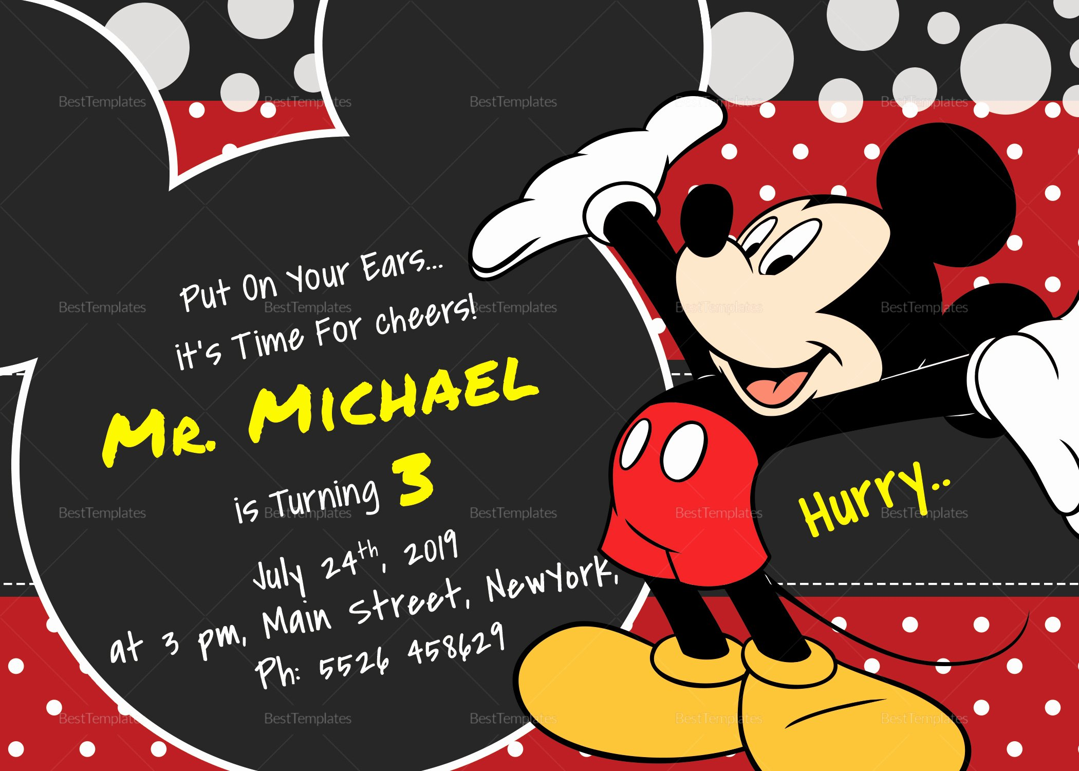 Mickey Mouse Invitations Templates Fresh Delightful Mickey Mouse Birthday Invitation Card Design