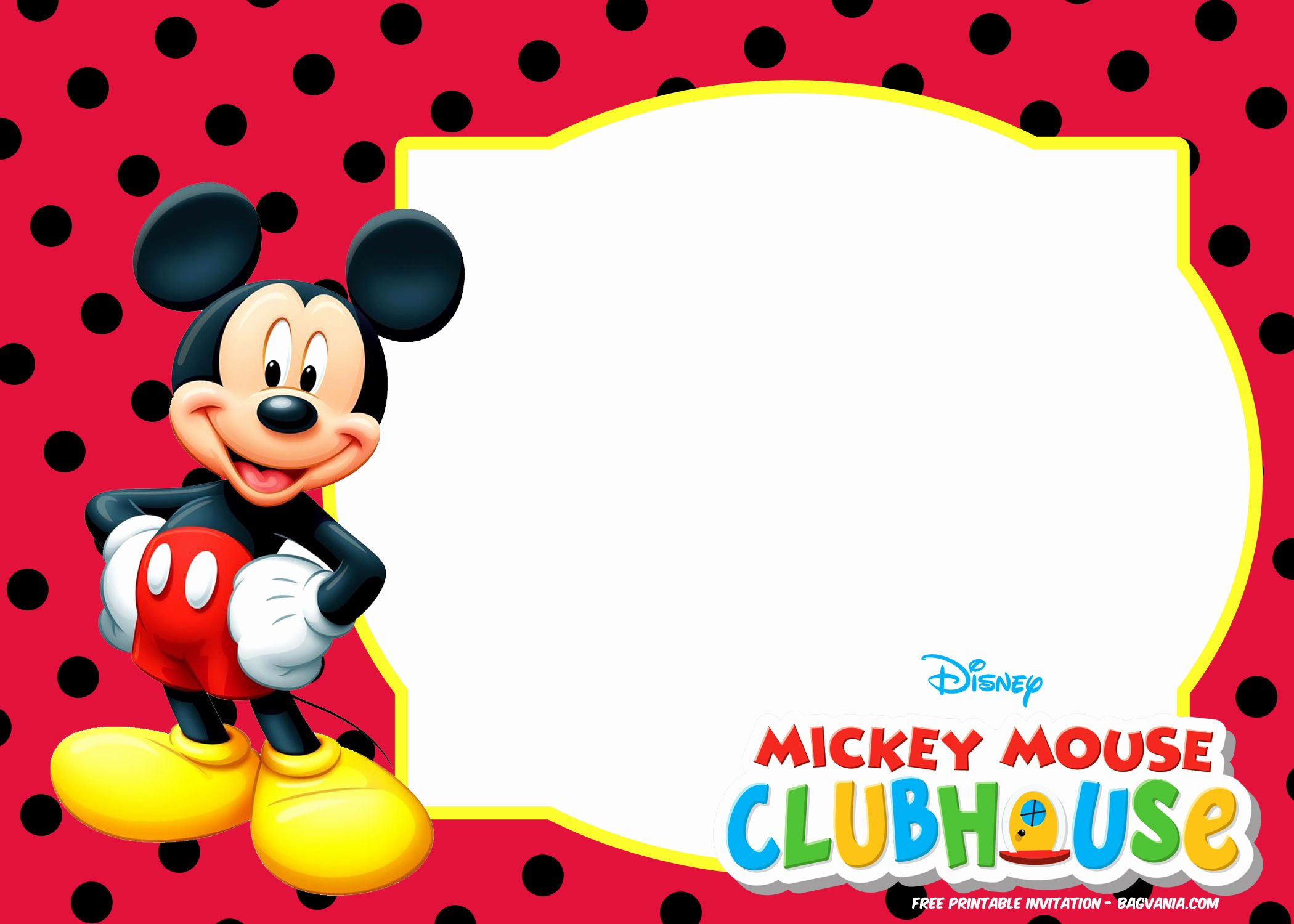 Mickey Mouse Invitations Templates Fresh Free Mickey Mouse Invitation Templates – Polka Dots – Free