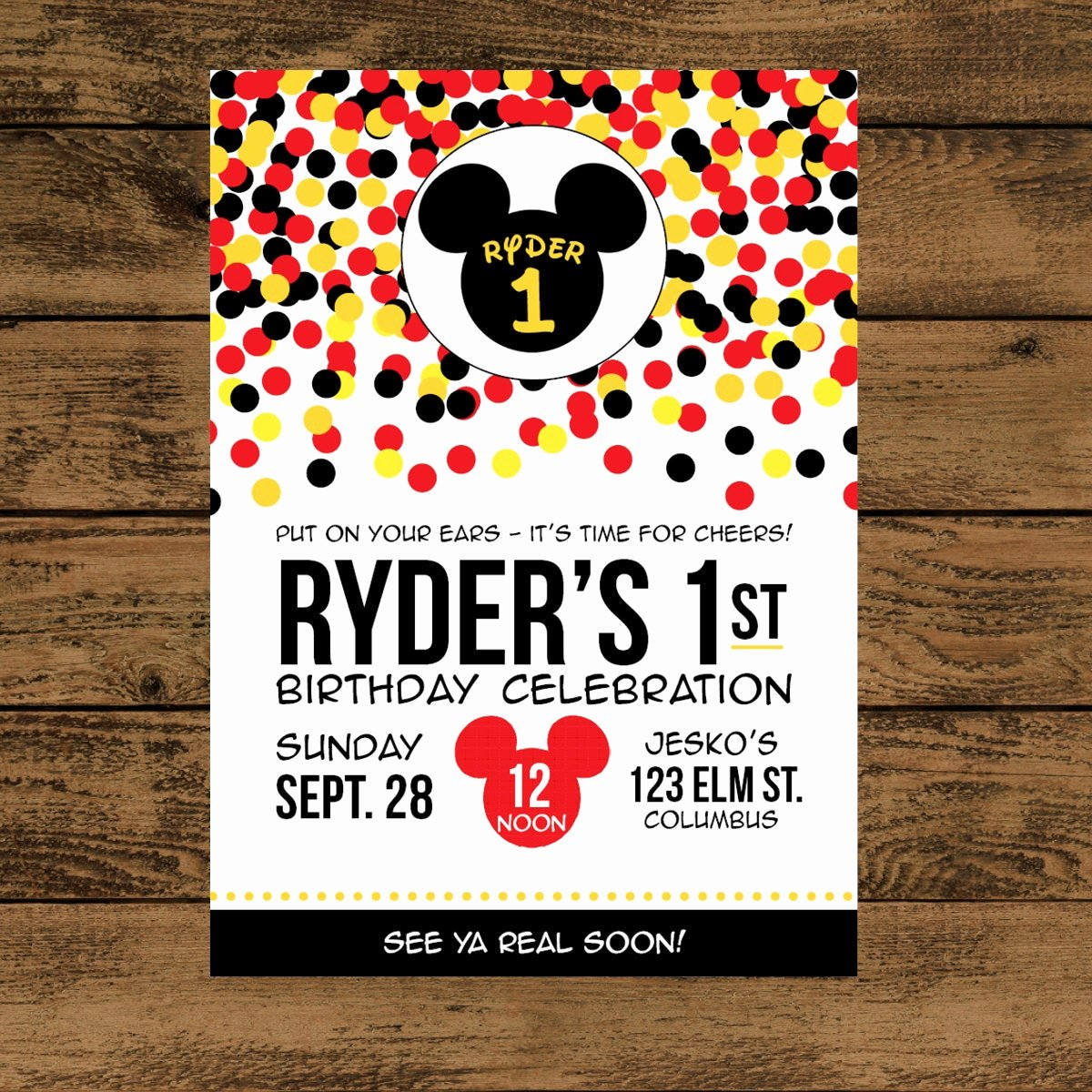 Mickey Mouse Invitations Templates Fresh Mickey Mouse Birthday Invitation Digital or Printed