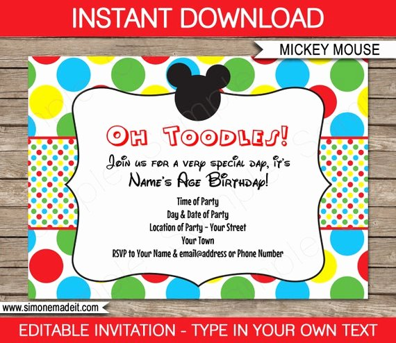 Mickey Mouse Invitations Templates Lovely Mickey Mouse Invitation Template Birthday Party Instant