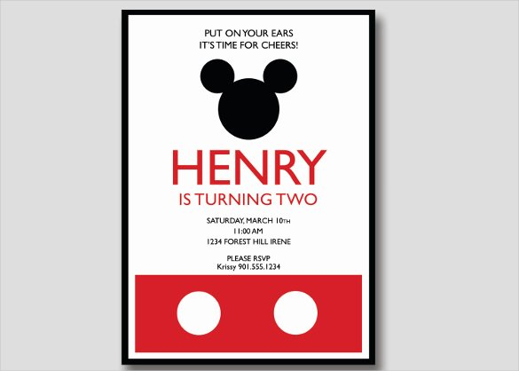 Mickey Mouse Invitations Templates Luxury 20 Mickey Mouse Birthday Invitation Templates – Free
