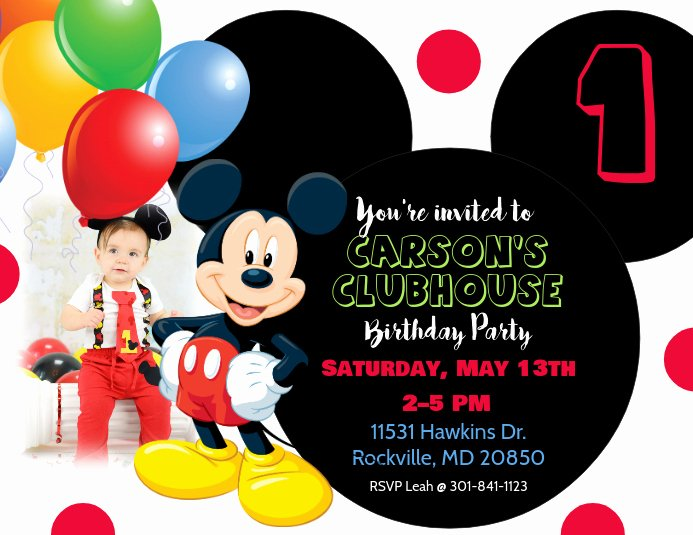 Mickey Mouse Invitations Templates Luxury Mickey Mouse Birthday Invitation Template
