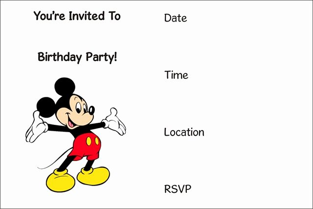 Mickey Mouse Invitations Templates New Invitations Archives