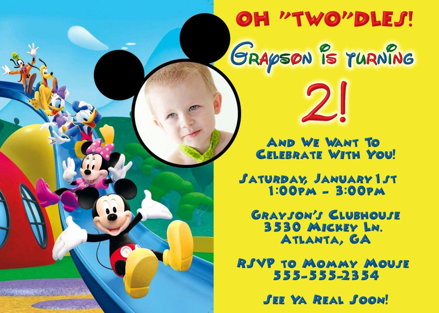 Mickey Mouse Invitations Templates New Mickey Mouse Clubhouse Invitation Template Free Download