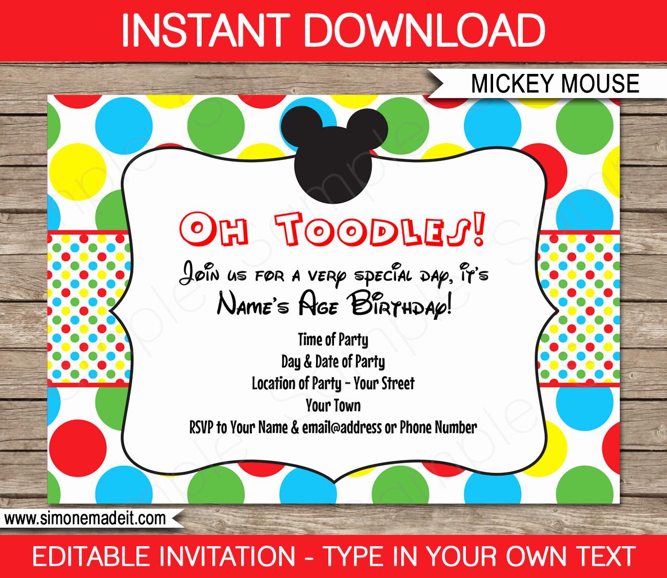Mickey Mouse Invitations Templates New Mickey Mouse Party Invitations Template