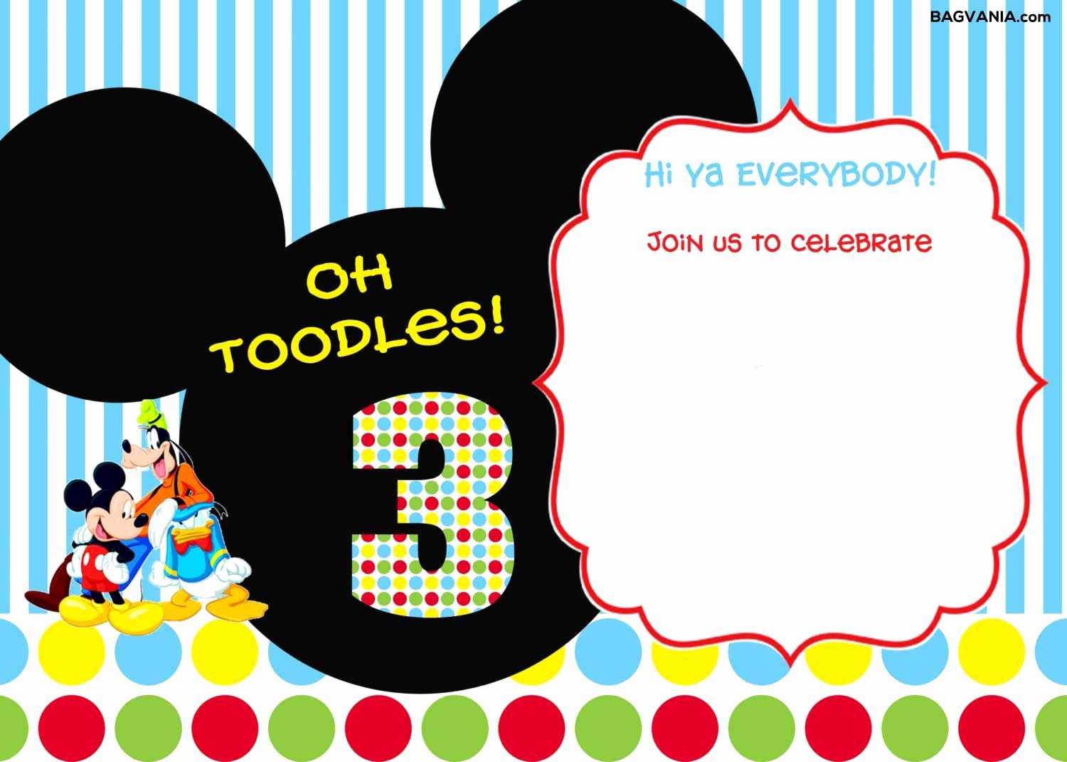 Mickey Mouse Invitations Templates Unique Download Free Printable Mickey Mouse Birthday Invitations