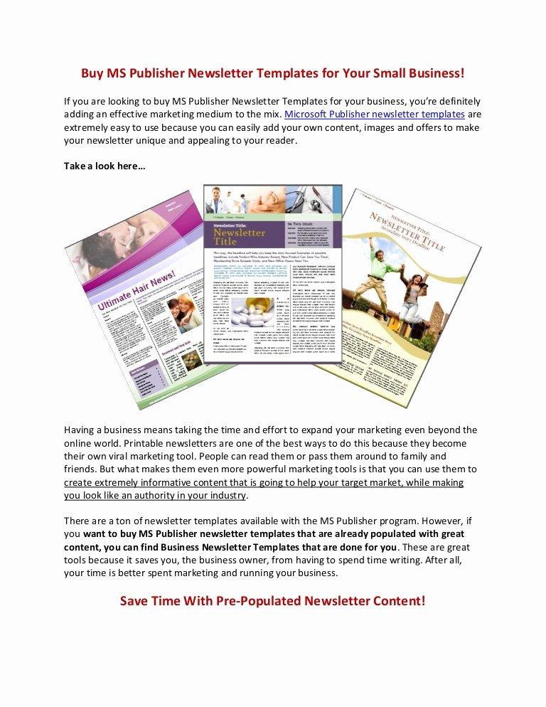 Microsoft Publisher Newspaper Templates Elegant Buy Ms Publisher Newsletter Templates