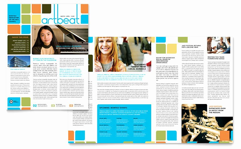 Microsoft Publisher Newspaper Templates Lovely Arts Council & Education Newsletter Template Word