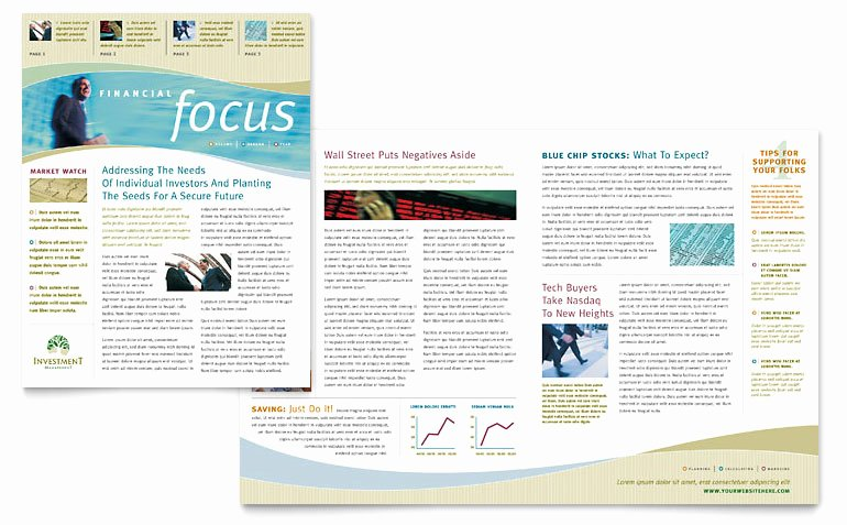 Microsoft Publisher Newspaper Templates Lovely Investment Management Newsletter Template Word & Publisher