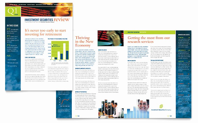 Microsoft Publisher Newspaper Templates New Investment Securities Pany Newsletter Template Word