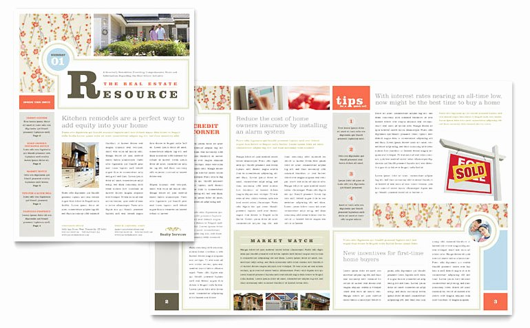 Microsoft Publisher Newspaper Templates New Real Estate Home for Sale Newsletter Template Word