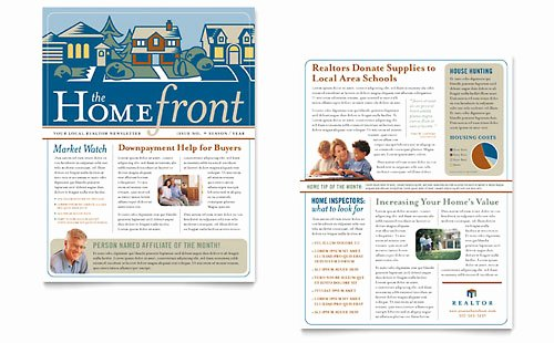 Microsoft Publisher Newspaper Templates Unique Real Estate Agent Newsletter Template Word & Publisher