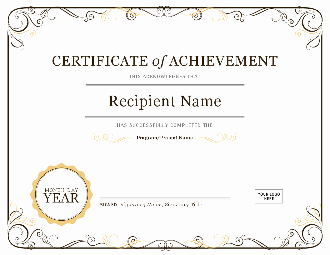 Microsoft Word Certificate Template Awesome Certificate Of Achievement