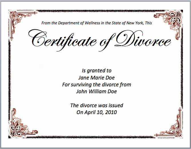 Microsoft Word Certificate Template Awesome Divorce Certificate Template Microsoft Word Templates