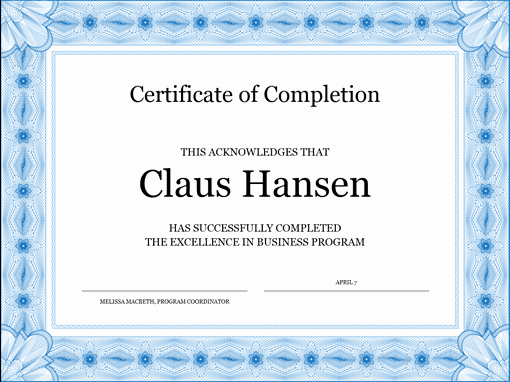 Microsoft Word Certificate Template Elegant 13 Certificate Of Pletion Templates Excel Pdf formats