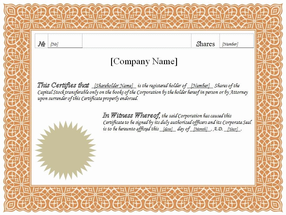 Microsoft Word Certificate Template Fresh Stock Certificate Template Word Pdf
