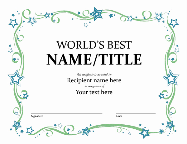 Microsoft Word Certificate Template Inspirational World S Best Award Certificate