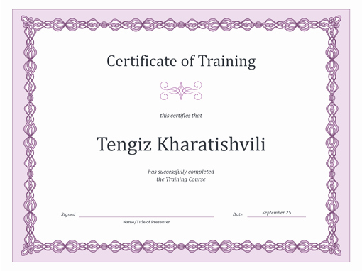 Microsoft Word Certificate Template Luxury Certificate Of Training Purple Chain Design