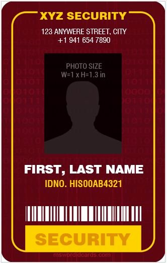 Microsoft Word Id Card Template Luxury 4 Best Ms Word Security Guard Id Card Templates