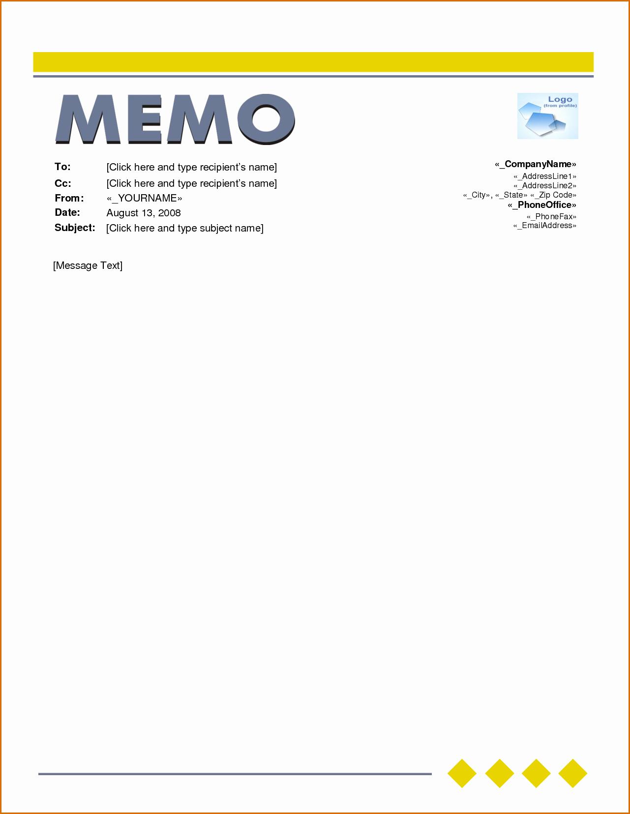 Microsoft Word Memo Template Beautiful 6 Word Memo Template