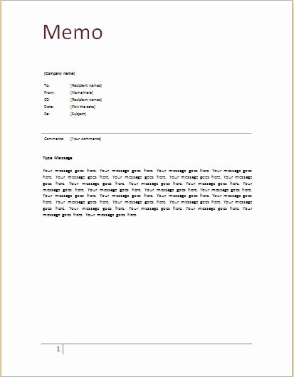 Microsoft Word Memo Templates New Memo Template at Word Documents